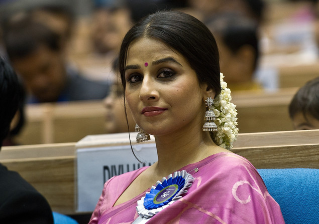 Vidya Balan listens to a speech during the 59th National Film Award in New Delhi