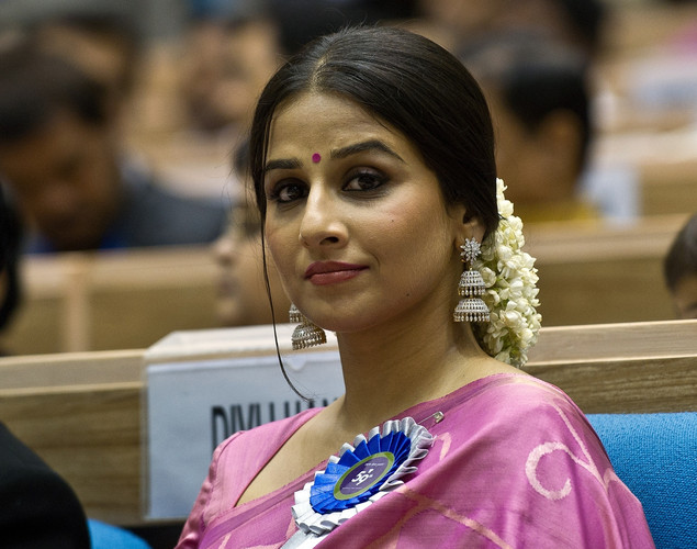Vidya Balan listens to a speech during the 59th National Film Award in New Delhi.
