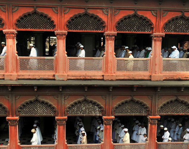 Indian Muslims offer Eid al-Fitr prayer at the Nakhoda Mosque in Kolkata.