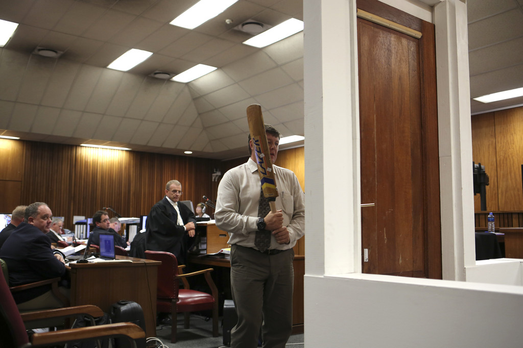 Pistorius trial: cricket bat, toilet door shown