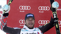Miller of the U.S. celebrates his second place finish in the men's World Cup Giant Slalom ski race in Beaver Creek
