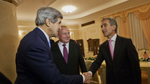 US Secretary of State John Kerry meets with Moldova's President Nicolae Timofti and Prime Minister Lurie Leanca at the Official Residence in Chisinau