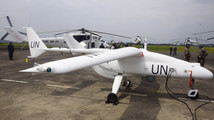 A surveillance Unmanned Aerial Vehicles (UAV) drone operated by the United Nations is seen in Goma