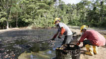 Oil workers clean up a contaminated pool in Taracoa