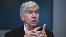 Snyder, the Republican governor of Michigan, speaks during an interview in New York