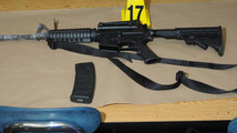 A Bushmaster rifle belonging to Sandy Hook Elementary school gunman Adam Lanza is seen in this police evidence photo