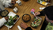 Students eat a healthy lunch at Marston Middle School in San Diego