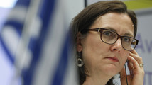 European Home Affairs Commissioner Malmstrom listens to a question during a news conference at European Union office in Athens