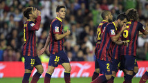 Barcelona's Neymar celebrates with teammates after scoring against Real Betis during their Spanish First Division soccer match in Seville