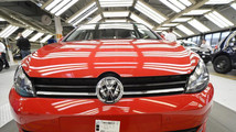 A VW Golf VII car is pictured in a production line at the plant of German carmaker Volkswagen in Wolfsburg