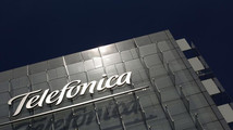 The logo of Spain's telecommunications giant Telefonica is seen at the company's headquarters in Madrid