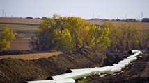 Handout photograph shows the Keystone Oil Pipeline is pictured under construction in North Dakota