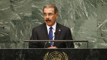 Dominican Republic's President Medina speaks during 67th United Nations General Assembly at U.N. headquarters in New York