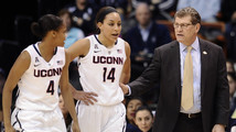 Bria Hartley, Geno Auriemma, Moriah Jefferson