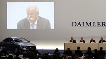 Daimler AG CEO Zetsche is seen on a screen during the company's annual news conference in Stuttgart