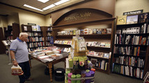 Patron looks at books at a Barnes & Noble bookstore in Pasadena