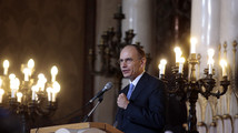 Italian PM Letta addresses the audience during the Hanukkah lighting candle ceremony at the Jewish community synagogue in Rome