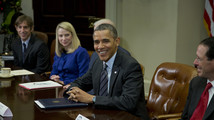 Barack Obama, Mark Pincus, Marissa Mayer, Randall Stephenson