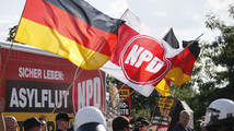 Far-right National Democratic Party protest against a refugee asylum in the Hellersdorf district of Berlin