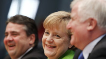 Party leaders German Chancellor Merkel of the CDU, Seehofer of th