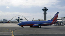 A Southwest Airlines plane taxies at Los Angeles International Airport (LAX) in Los Angeles California