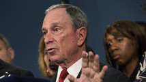 New York City Mayor Bloomberg, along with survivors and family members of gun violence victims, addresses the media to announce the release of