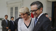 Australia's Foreign Minister Julie Bishop bids farewell to her Indonesian counterpart Marty Natalegawa after their meeting at the foreign ministry office in Jakarta