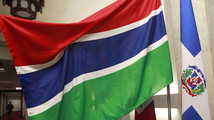 Gambia's national flag is displayed at the Ministry of Foreign Affairs in Taipei