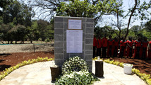 A memorial plaque stands at the Amani Garden within the Karura forest for the victims killed during the Westgate shopping mall attack in Nairobi