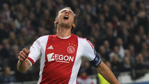 Ajax Amsterdam's de Jong reacts during a Champions League soccer match against Celtic at Amsterdam Arena