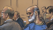 An artist sketch shows Abu Ghaith at a hearing in a Manhattan federal court in New York
