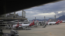Aircrafts are pictured at Galeao airport in Rio de Janeiro