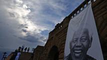 A giant picture of Nelson Mandela is pictured at the entrance of the Union Buildings in Pretoria