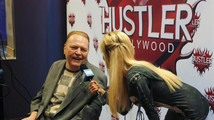 Publisher Flynt, president of Larry Flynt Publications, is interviewed at induction ceremonies into the Hustler Hollywood Walk of Fame