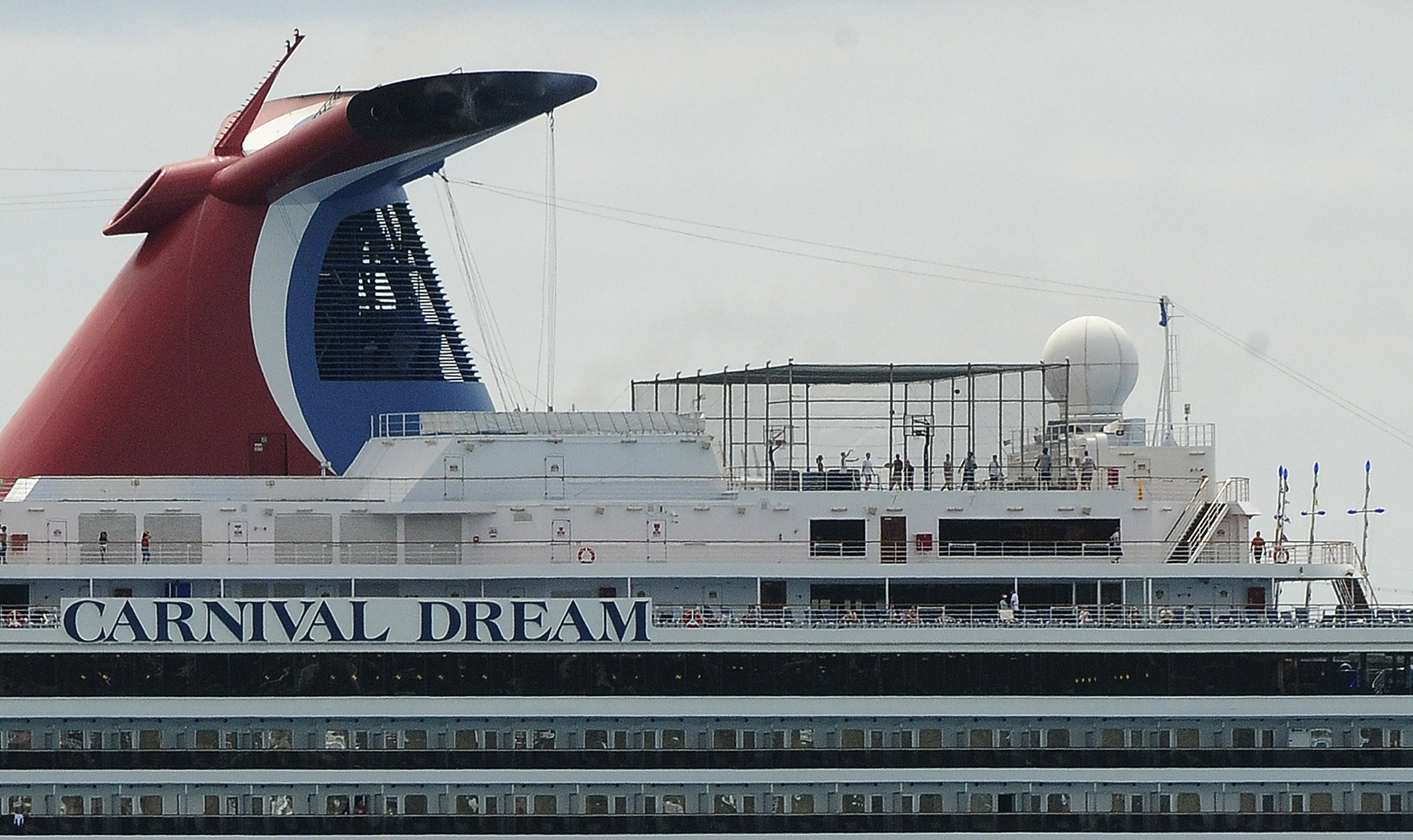 Carnival Dream cruise ship moored at the A.C. Wathey Cruise Facilities after a diesel generator malfunctioned causing temporary disruptions, in Philipsburg