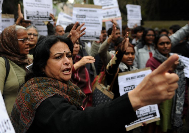 Indian activists protest for harsher punishments and quicker trials for rape cases, in New Delhi on February 4, 2013