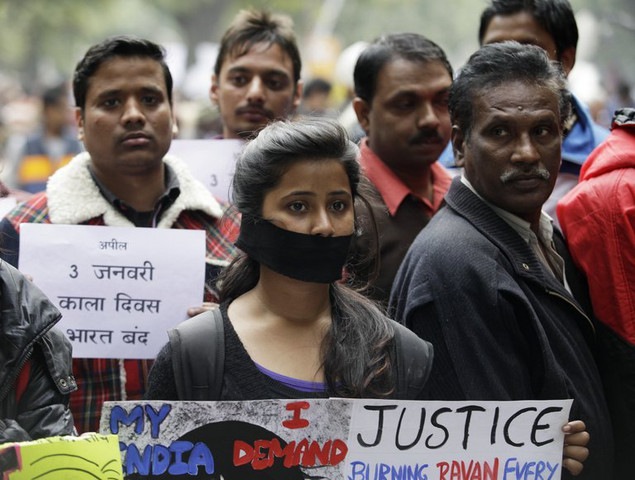 Protesters at a rally in New Delhi on December 30, 2012, following the cremation of a murdered gang-rape victim