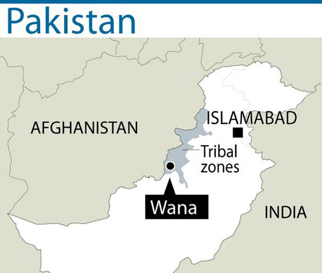 Map locating Wana in Pakistan's South Waziristan tribal district