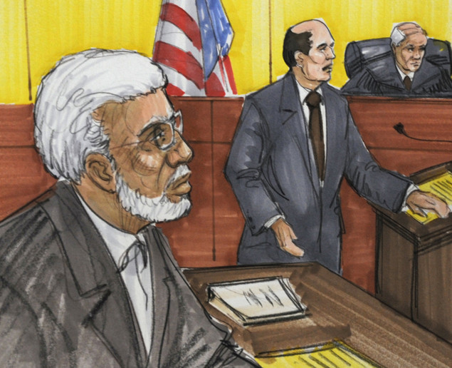 This courtroom drawing shows Tahawwur Hussain Rana (L) on December 15, 2009, in Chicago.