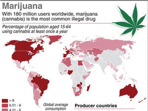 Map showing marijuana use by country and main producing states