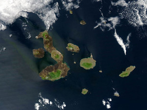 This true-color NASA satellite image released on August, 22, 2004 shows the Galapagos Islands