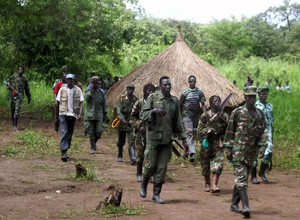 A column of around 40 LRA fighters emerges on September 20, 2006, at Ri-Kwangba on southern Sudan's border with DR Congo