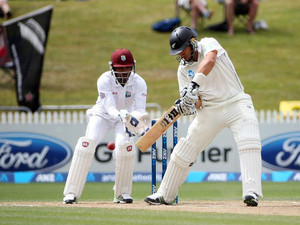 Ross Taylor of New Zealand bats during day three of the third international cricket Test match against West Indies at the Seddon Park in Hamilton on December 21, 2013