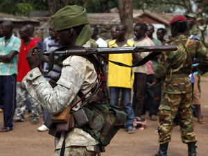 A Chad soldier holds his weapon in Bangui
