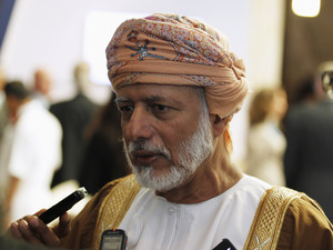 Omani Foreign Minister Youssef bin Alawi bin Abdullah speaks to journalists at the IISS Regional Security Summit - The Manama Dialogue, in Manama