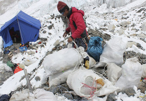 A Sherpa pack garbage collected from a clean-up expedition at Everest Base Camp on May 26, 2010