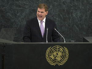 Baird, the Minister of Foreign Affairs of Canada, addresses 68th session of the United Nations General Assembly in New York