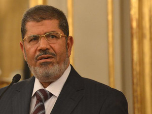 Egypt President Mohamed Morsi speaks during a press conference in Rome on September 14, 2012
