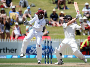 Kane Williamson of New Zealand bats during day four of the third international cricket Test match between New Zealand and the West Indies at the Seddon Park in Hamilton on December 22, 2013