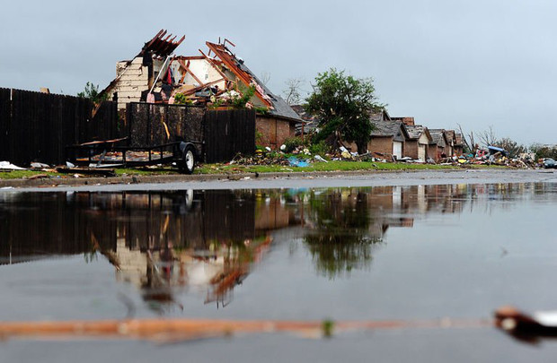A tornado devastated neighborhood is seen on May 23, 2013 in Moore, Oklahoma